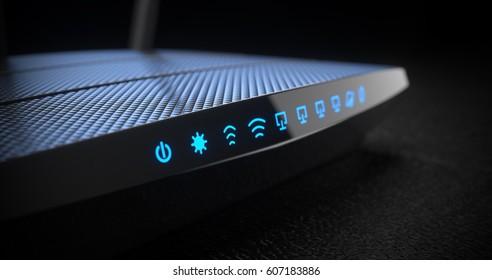 Wi-Fi wireless internet router on dark background 3d