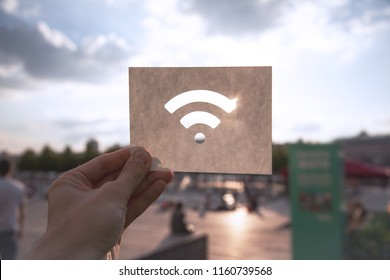 "The Wi-Fi wireless network sign against the blue sky. The concept of ""Stay in touch"""