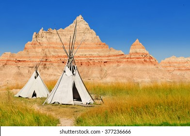 Wigwams at a scenic view in Badlands National Park, South Dakota, USA