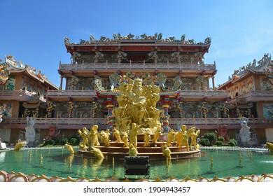 Wihan Thep Sathit Phra Kitthi Chalerm Shrine (Nacha Sa Thai Chue Shrine or Naja Shrine) Bang Sean, Chonburi, Thailand