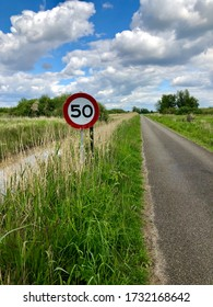 Wijdemeren, Netherlands - May 15 2020: Speed signs on a deserted country road leading to one farm in the Horstermeerpolder. This area has a restriction in movement of traffic for conservations purpose