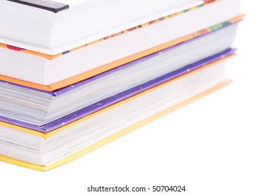 Wikipedia books on white background