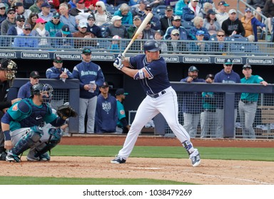 Wil Meyers first baseman for the San Diego Padres in Peoria Arizona USA March 23,2018.