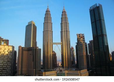 Wilayah Persekutuan, Kuala Lumpur , Malaysia - 21 February 2021: KLCC Petronas Twin Tower in The Blue Sky