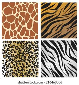 Wild African animals pattern set
