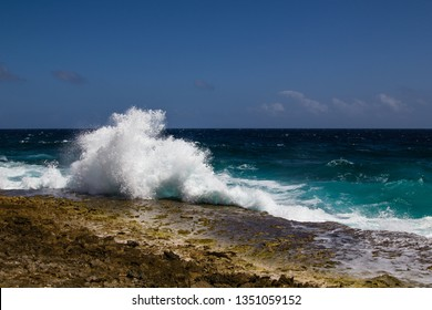 Wild and aloud waves spraying high at the rough shoreline of the Caribbean east coast of the Caribbean island of Bonaire