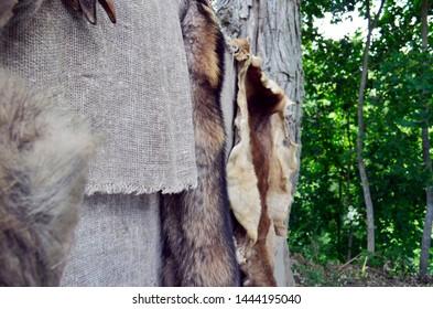 Wild animals fur hanging outside