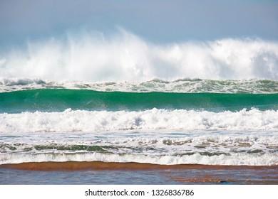 Wild atlantic ocean with high waves