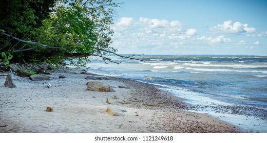 Wild beach of the Baltic sea in summer. The Gulf of Finland, Estonia.