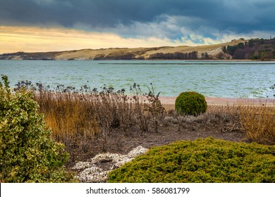 Wild beach, beautiful nature. Cloudy blue sky over Parnidis dune in autumn, Neringa, Lithuania