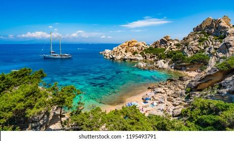 Wild beach Cala Spinosa of  Capo Testa, near Santa Teresa di Gallura village, Sardinia island, Italy