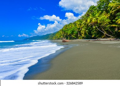 Wild beach at Corcovado Rainforest in Costa Rica