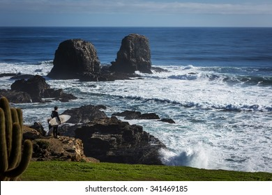 The wild beach of Pichilemu, considered the surf city in Chile. Central Coast, two hours south of Santiago.