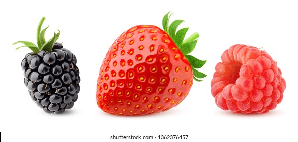 wild berries mix, blackberry, strawberry, raspberry, isolated on white background, clipping path, full depth of field
