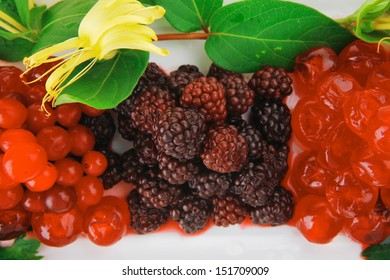 wild berry's and cherry on white plate