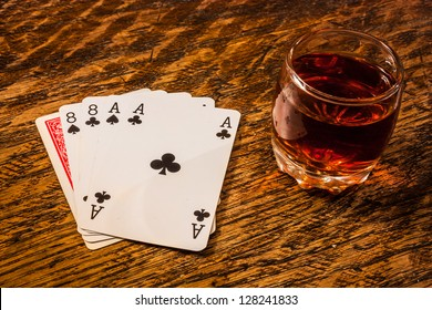 Wild Bill Dead Mans Hand with a shot of whiskey