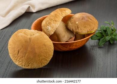 Wild Boletus mushrooms - on the board