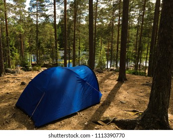 Wild camping in the forests of Nuuksio National Park, Espoo, Finland