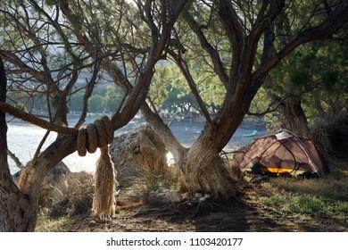 Wild camping on the Sfinari beach in the west coast of Crete island, Greece