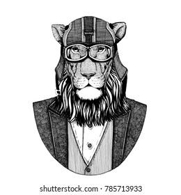 Wild cat. Lion. Animal wearing jacket with bow-tie and biker helmet or aviatior helmet. Elegant biker, motorcycle rider, aviator. Image for tattoo, t-shirt, emblem, badge, logo, patch