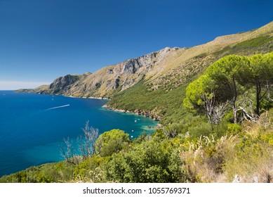 The wild coast Costa di Masseta between Scario and Marina di Camerota in southern Cilento, Campania, Italy
