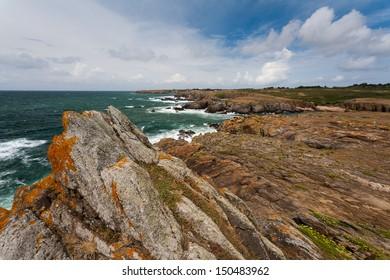Wild coast of Ile d'Yeu in Vendee, France
