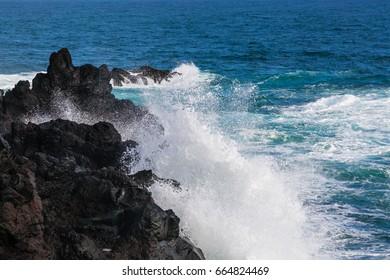 Wild coast at Lagoa on Sao Miguel Island, Azores archipelago in the Atlantic Ocean, Portugal