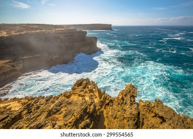 The wild coast of Loch Ard Gorge, one of the main attractions of the Port Campbell National Park. Great Ocean Road, Victoria State, South Australia.