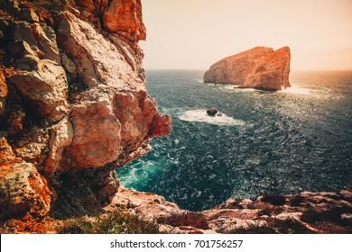 Wild coastline with huge steep cliffs