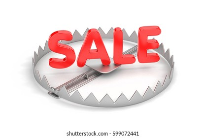 Wild discounts! Threat discount! Bear trap with red word SALE. 3d illustration