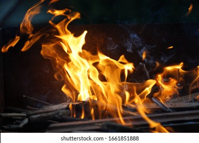 Wild fire on a barbeque