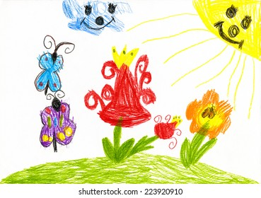 wild flower and butterfly on sunny meadow. child drawing
