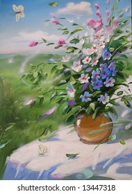 wild flowers in the pot,white table-cloth,a landscape as the back scene,white butterfly