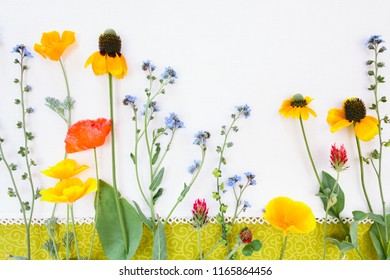 Wild Flowers shot from above on textile background.