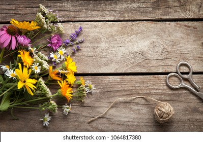 Wild flowers tangle of rope and scissors on old grunge wooden background (chamomile lupine dandelions thyme mint bells rape).