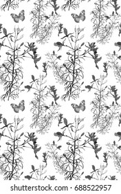 wild flowers watercolor hand painting isolated on white background seamless pattern for fabrics, paper, wallpaper