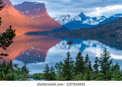 Wild Goose Island On Calm Morning in Montana wilderness
