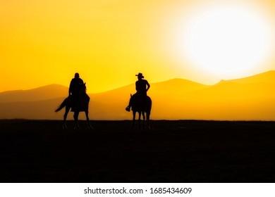 Wild horses and sunset. (Yılkı atları) Kayseri.