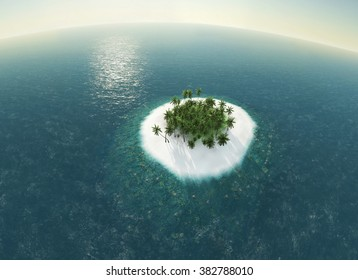 wild island in the ocean view from above