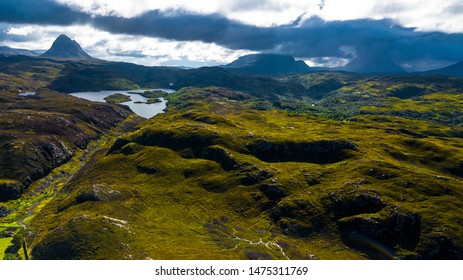 Wild Landscape With River And Lake In The Highlands Of Scotland
