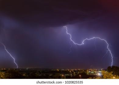 Wild lightning storm over Johannesburg