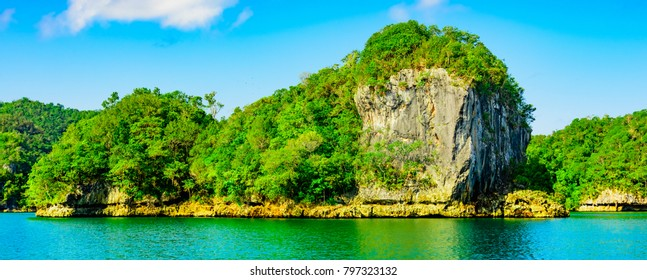 wild lonely green island in the Atlantic Ocean bay of the Caribbean Dominican Republic