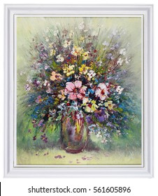 Wild meadow flowers  bouquet in ceramic vase. Handmade oil art painting in white wooden frame. Isolated studio shot