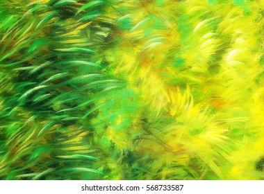 wild meadow grass structure in bright green tones, painting deta