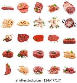 Wild meat collage, isolated on white