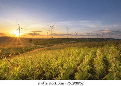 Wild mill in field. Power and energy, electric wind turbine for