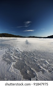 wild mountain and froze lake