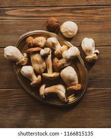 Wild mushrooms on platter
