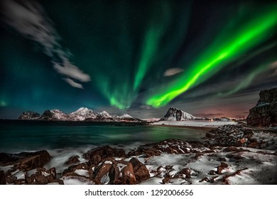 The wild nature of the Lofoten Islands is just as beautiful in winter as the rest of the year, especially when the northern lights come out at night.