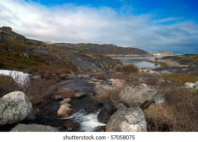 Wild northern nature. Landscape of the mountain river.